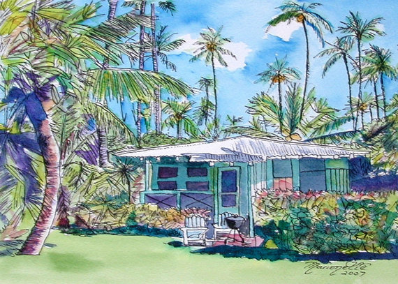 Hawaiian watercolor painting